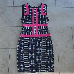 BCBG black, white & hot pink dress Sz 4